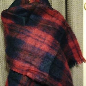 Red and blue mohair and wool wrap from Scotland.